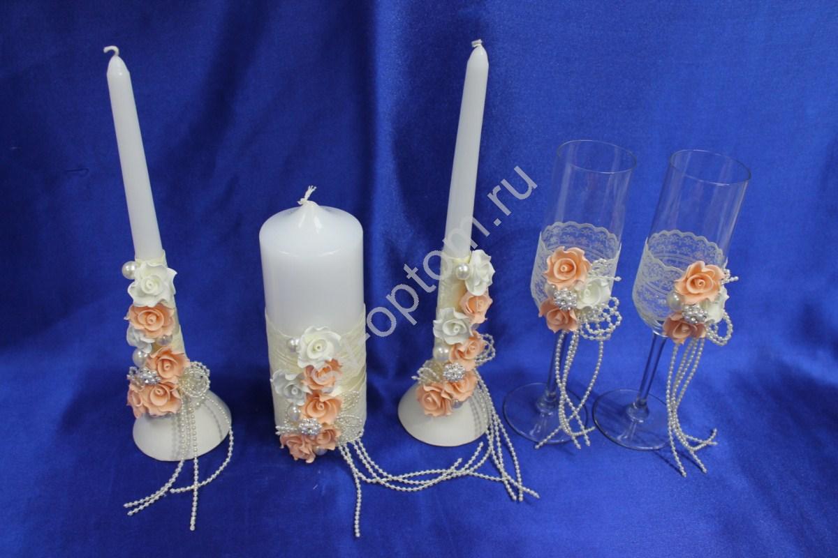 Как украсить свадебные бокалы и свечи своими руками