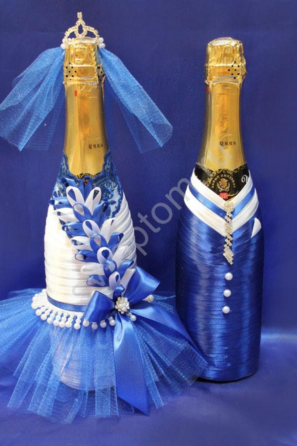 Украшение шампанского на свадьбу лентами видео